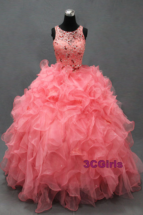 Peach organza beaded ball gown prom dresses | Prom and Wedding ...