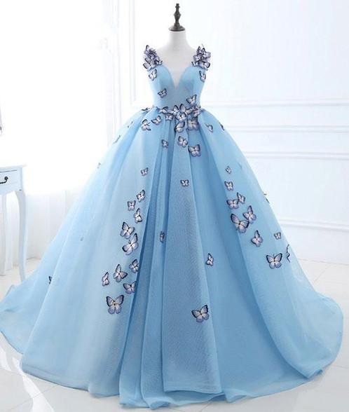 organza blue dresses