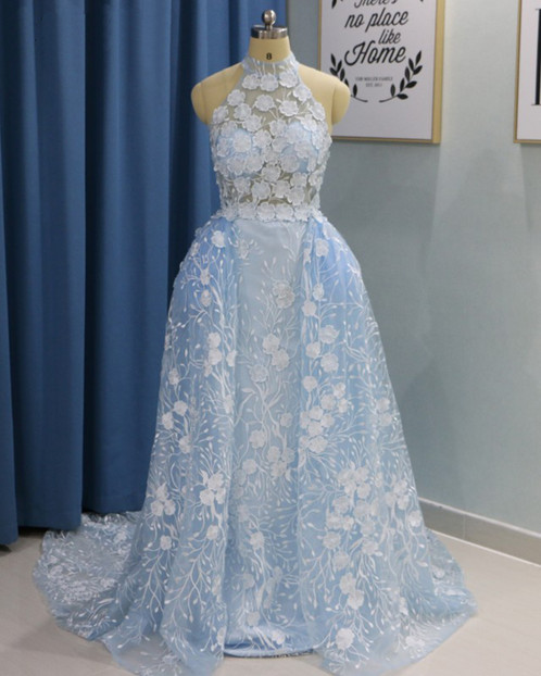 Blue Organza Strapless Long Lace Formal Dress With Removable Skirt