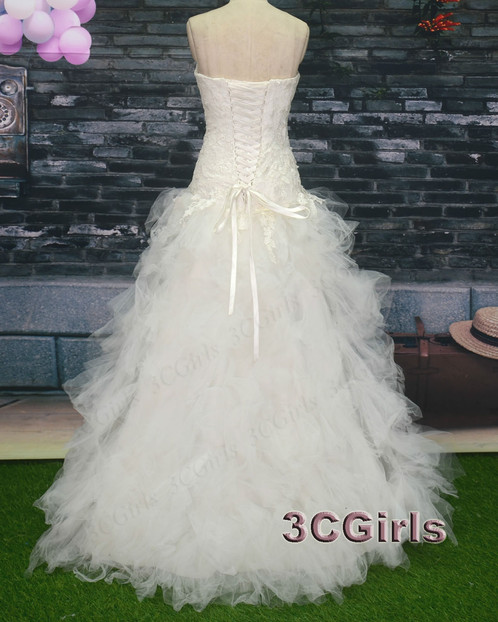 Pretty white tulle strapless high low prom dress | Prom and Wedding ...