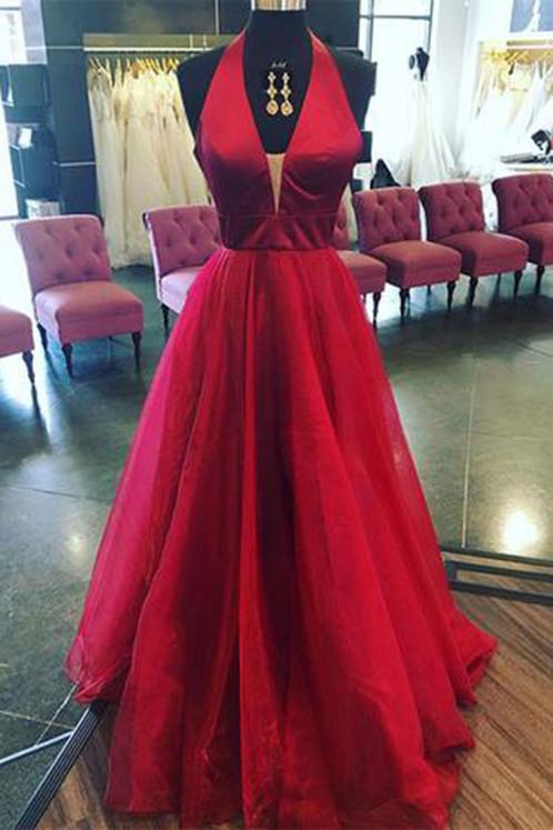 Burgundy Backless Prom Dresses