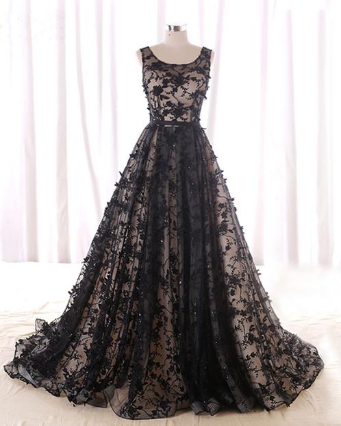 Black Lace Long Evening Dress