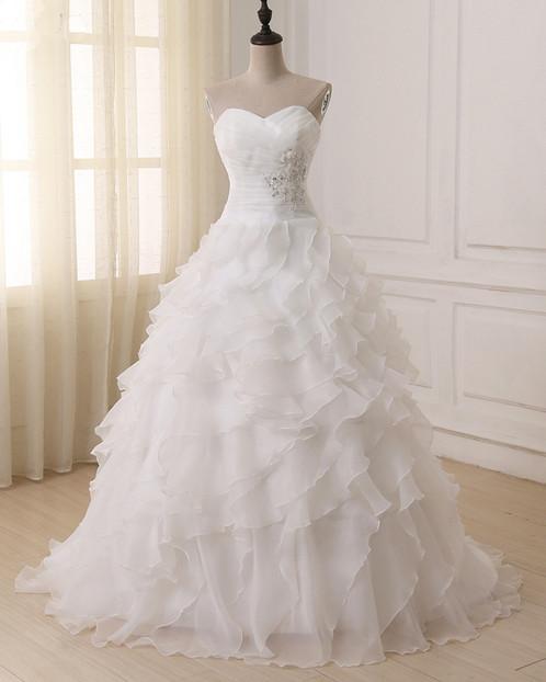 Sweetheart White Tulle Ruffles Long Ball Gown Strapless Wedding Dress Prom And Dresses 3cs Weddings