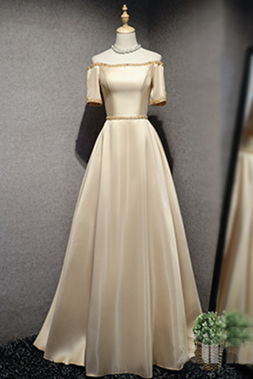 Champagne strapless long beaded senior prom dress   Prom and ...