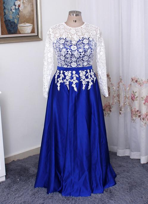 Royal blue satin long white lace plus size prom dress, long sleeve ...
