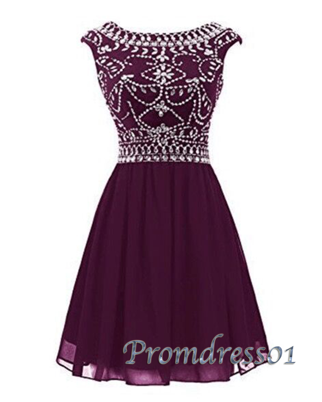 Amazing burgundy chiffon beaded short prom dress | Prom ...