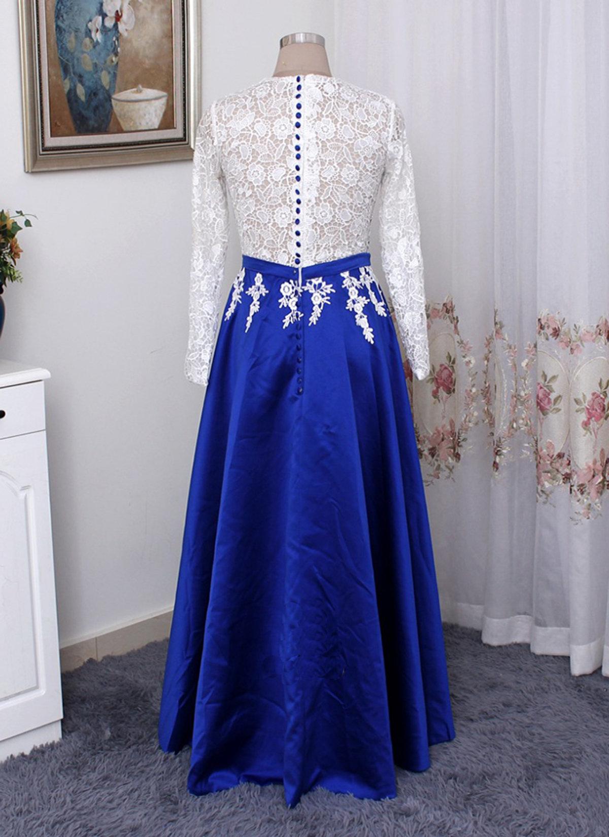 Royal blue satin long white lace plus size prom dress, long sleeve evening  dress