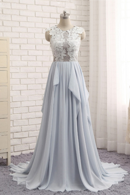 Unique white lace long A-line senior prom dresses   Prom and ...