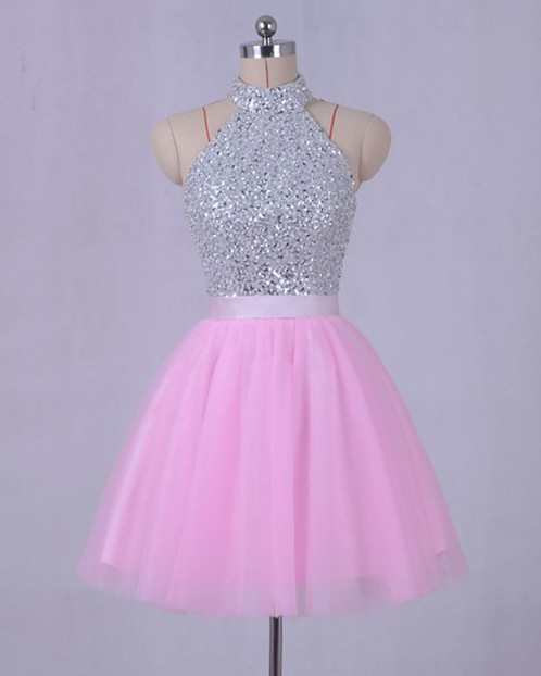 Pink tulle strapless silver sequins open back mini prom dress, pink ...