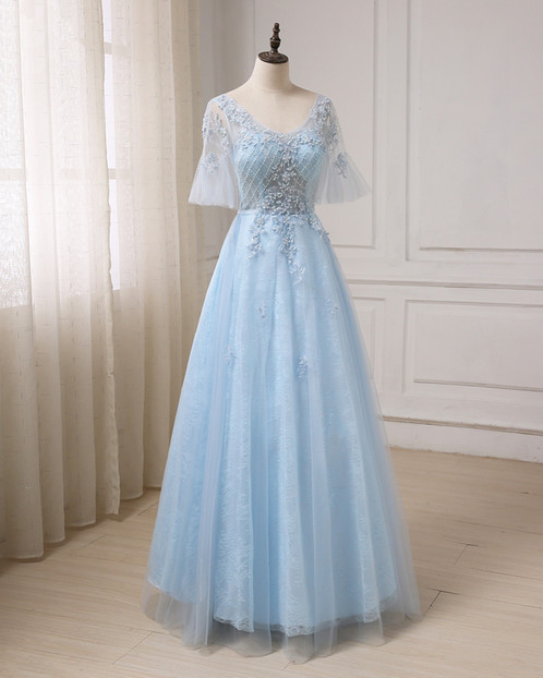 Blue tulle V neck see through long prom dress, long evening dress ...