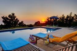 Villa Bernice patio sunset