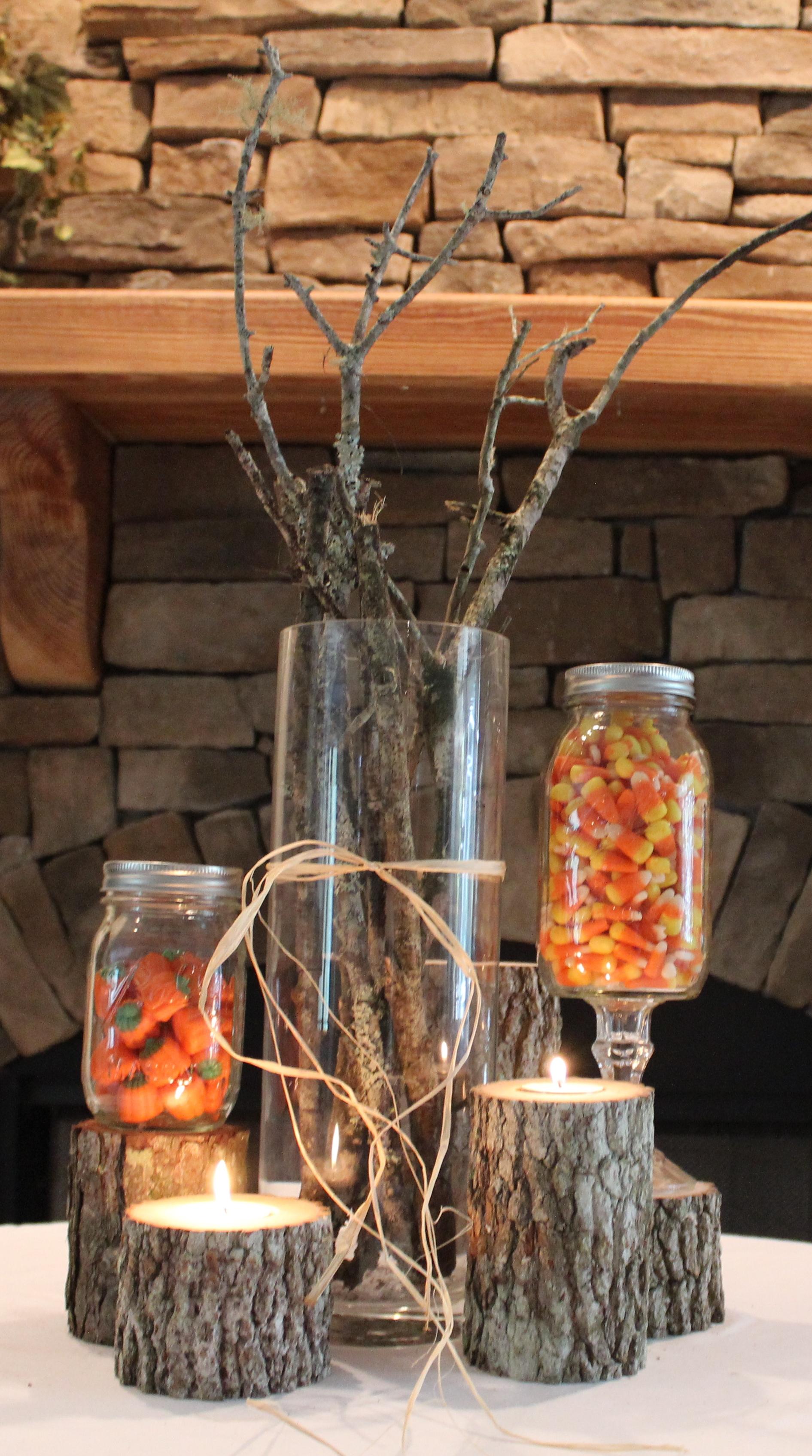 Wood Candle Pillars w/ Sticks Vase