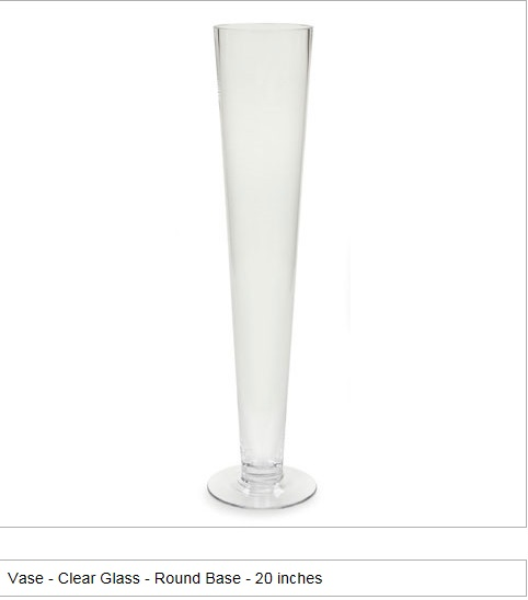 """Fluted vase 20"""" clear glass"""