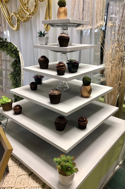 White Wood Tiered Cupcake Stand