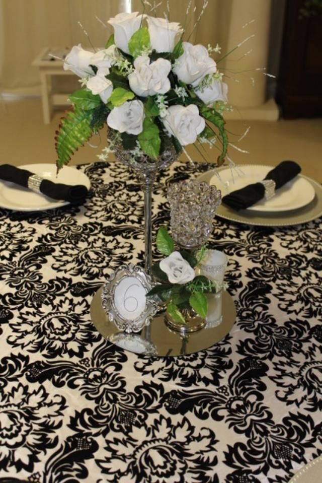 centerpiece white roses