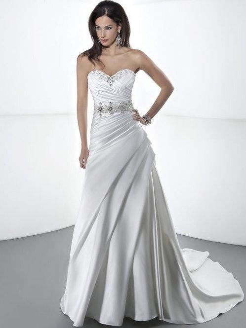 Demetrios Satin Diamond White Gown