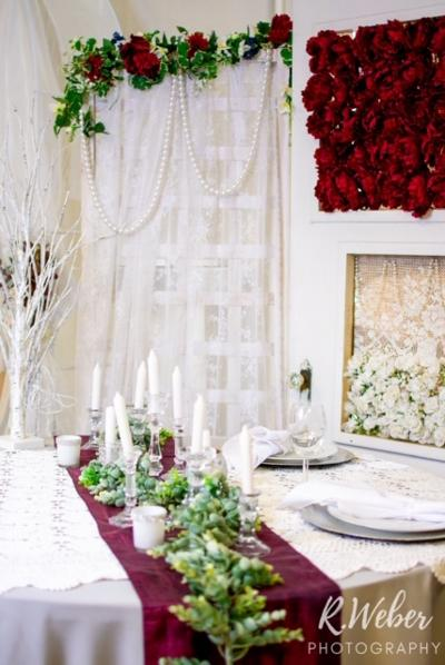 crystal candlesticks centerpiece