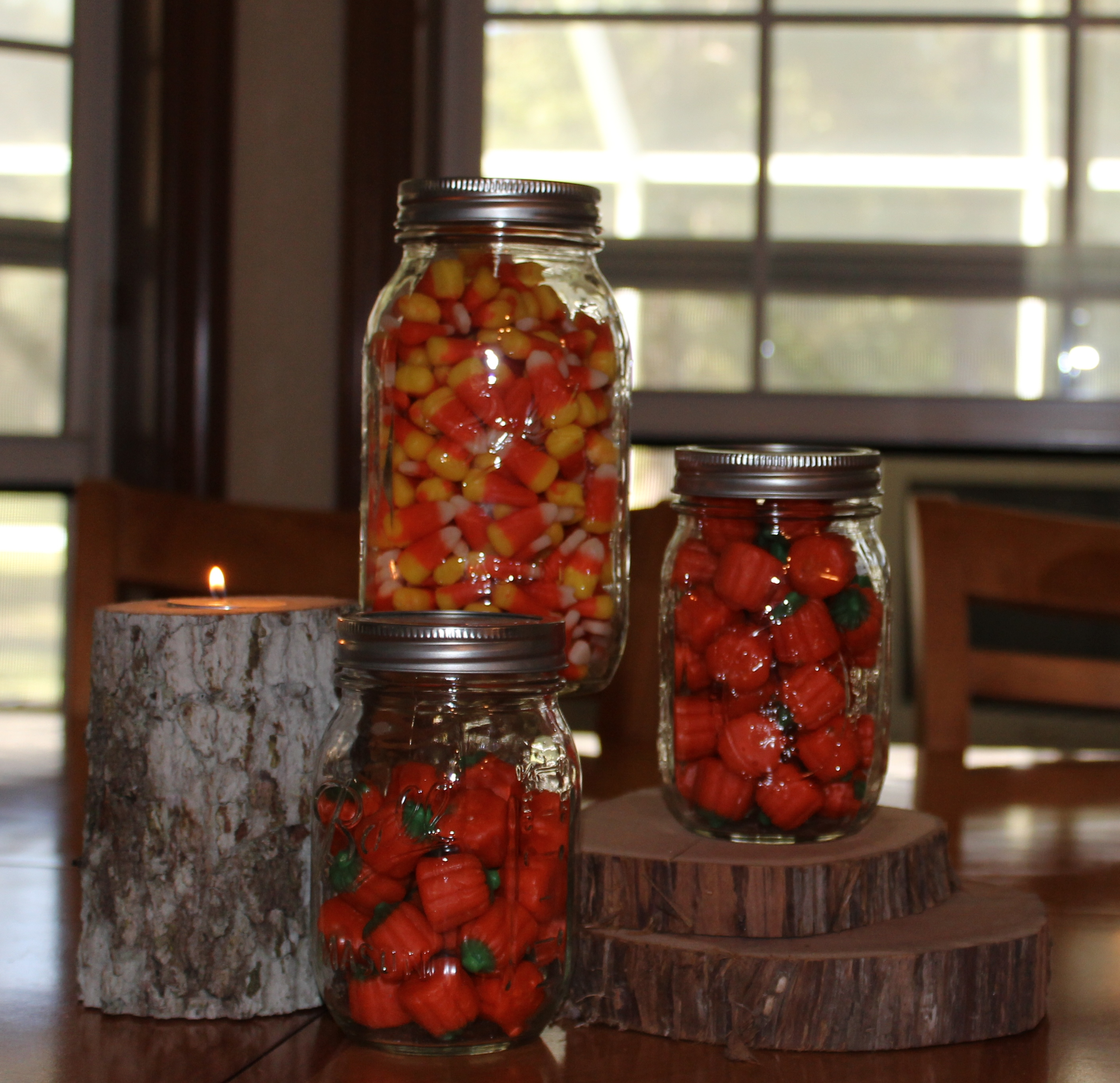 Wood Pillar w/ Candy Filled Jars