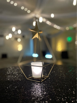 Gold Triangle w/votive centerpiece