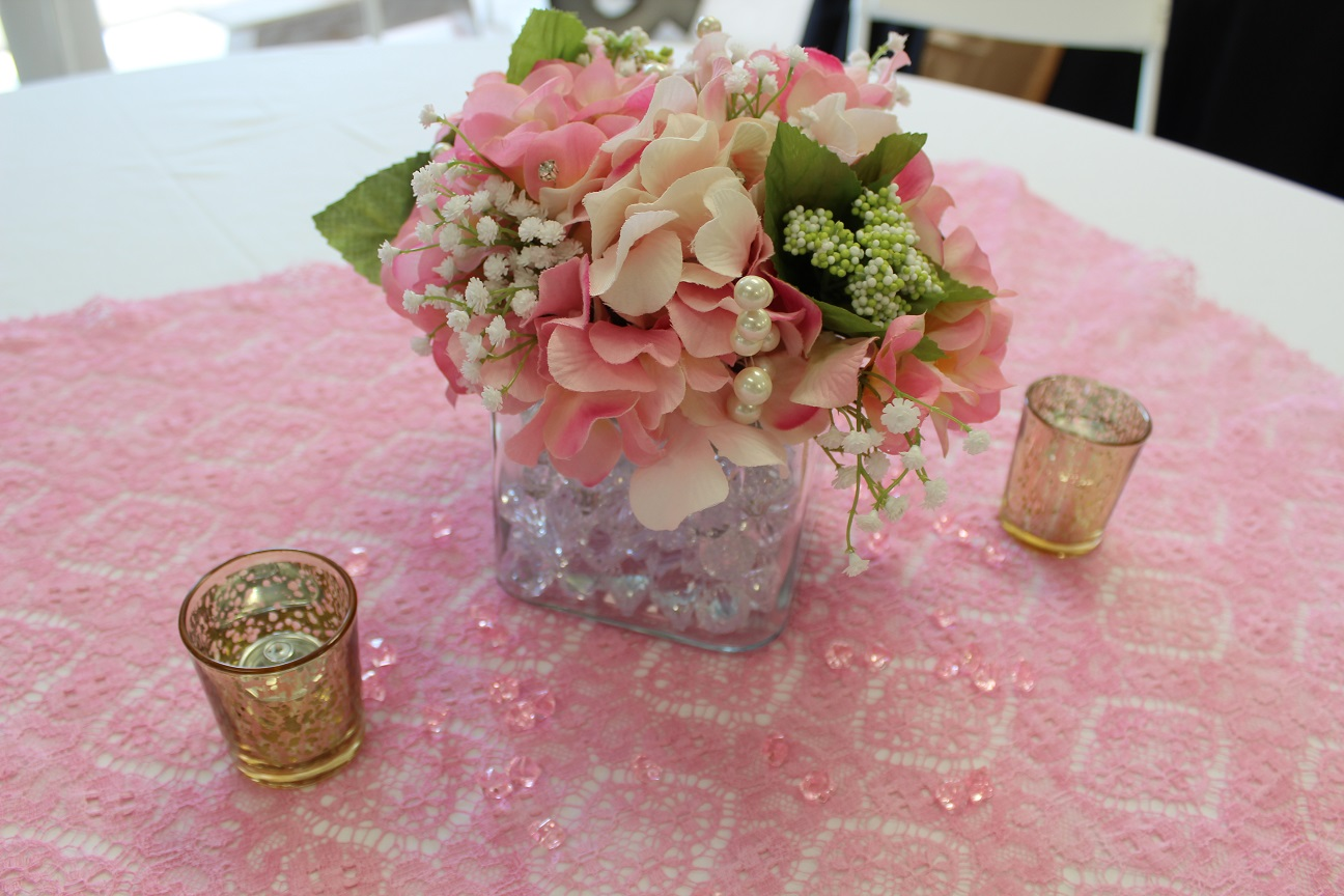 pink hydrangeas square vase votives.jpg