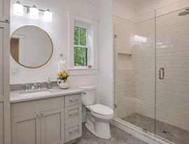 Elegant Ideas Flow White Walls Opera Ultra Grigio Chiaro Hexagon Floor