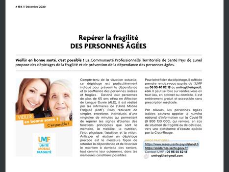 Magazine CCPL Décembre 2020 : Repérer la fragilité des personnes âgées