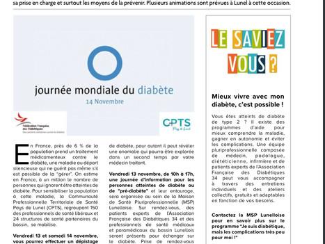 Magazine CCPL Novembre 2020 - Diabète : se faire dépister et s'informer