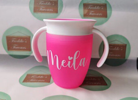 Personalised sippy cup, first birthday gift, Christmas gift ideas, flower girl