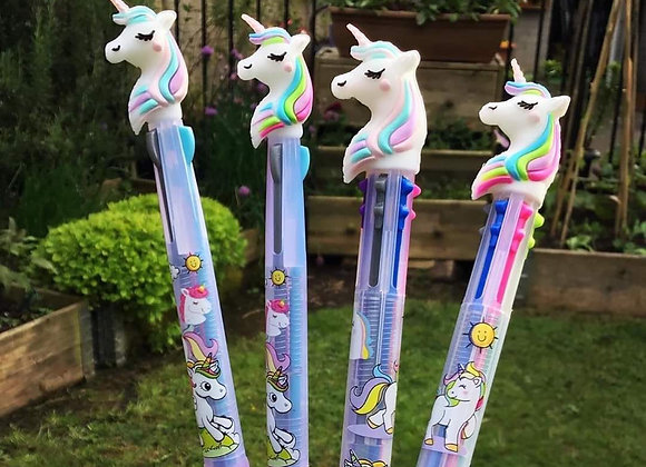 Unicorn 6 in 1 pens stationery 6 in 1 multi colour pen, Kawaii pen ballp