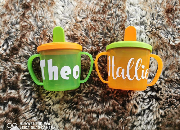 Personalised sippy cups, toddler, first birthday gift, page boy, flower girl
