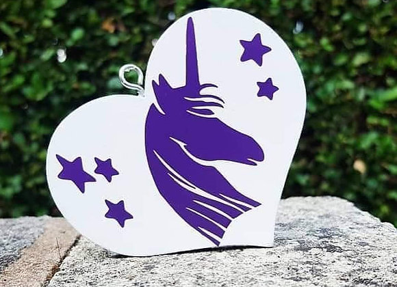 Wooden heart Unicorn hanging decoration/ girls bedroom decor/ gifts/ party/ wedd
