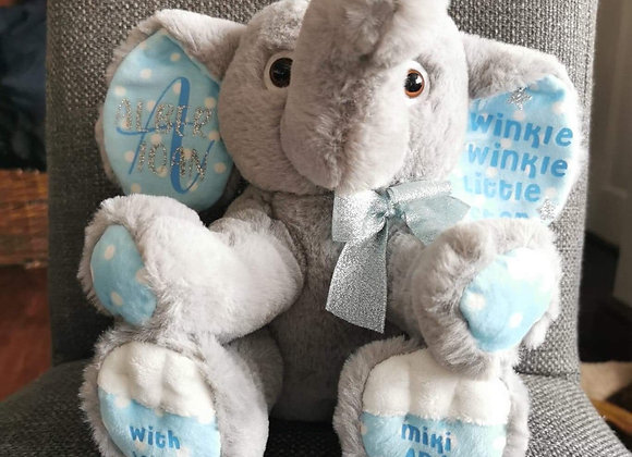 Personalised elephant soft toy, Newborn Gift, welcome to the world, baby shower