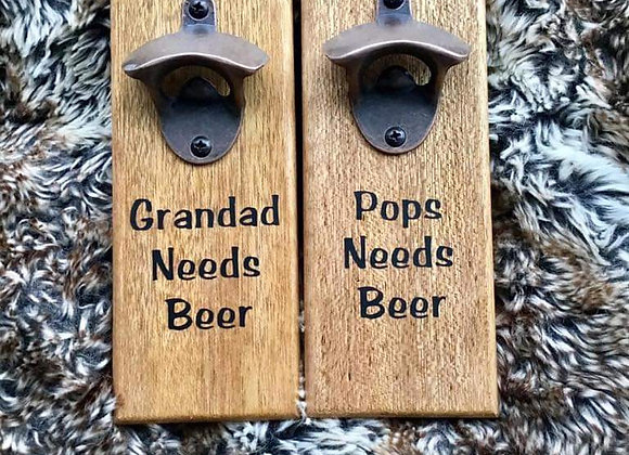 Gift for him, wooden bottle opener, groomsmen gift, craft beer lover, man cave,