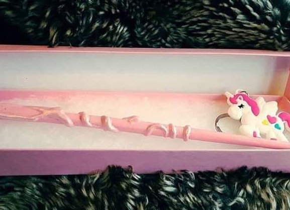 Pink unicorn wand in a box set with a personalised label. wedding favour, gift,