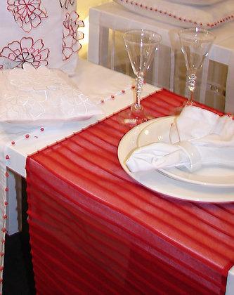 Tischläufer mit Biesen Rot