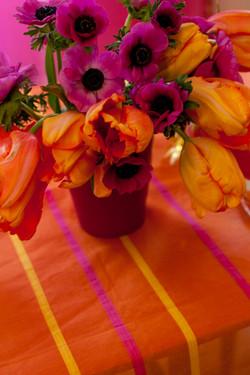 Streifentischdecke Orange Pink