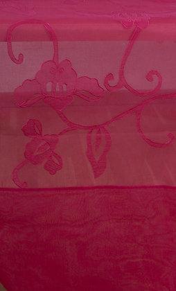 Pinker Tischläufer mit gestickter Tibetblüte