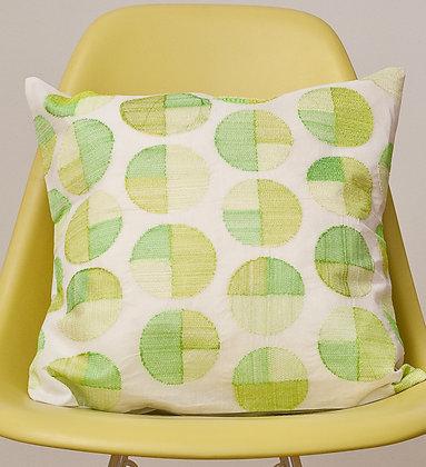 Weiße Kissen grün-limone Circle Design