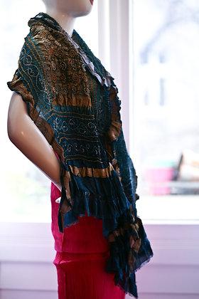 Blaugraues Seidentuch mit Metallfäden & Tie-Dye