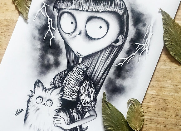 A4 Weird Girl Tim Burton Print