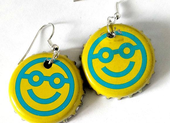 Smiley Face Bottle Top Earrings
