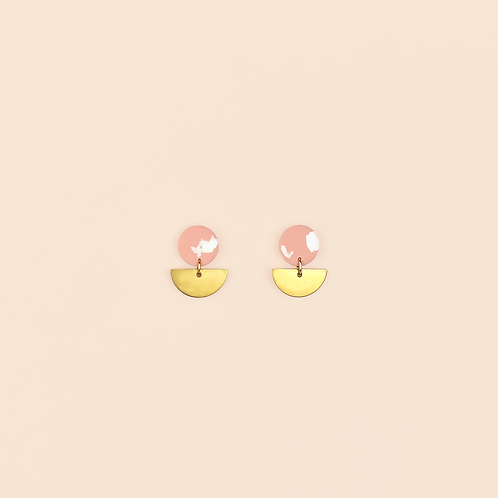 Pink & White Small Brass Drops