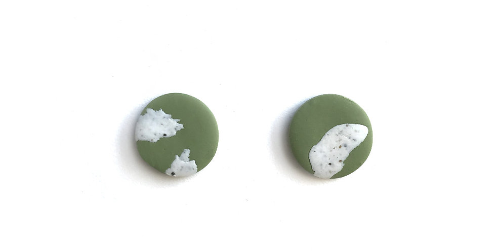Green and White Speckled Studs