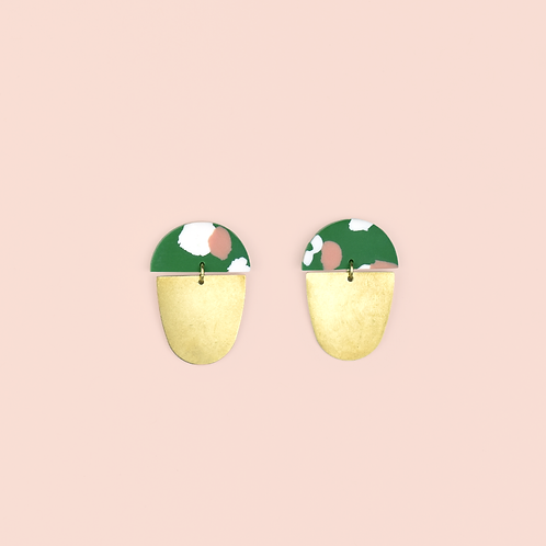 Green, Pink & White Brass Drops