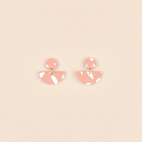 Pink & White Half Circle Drops