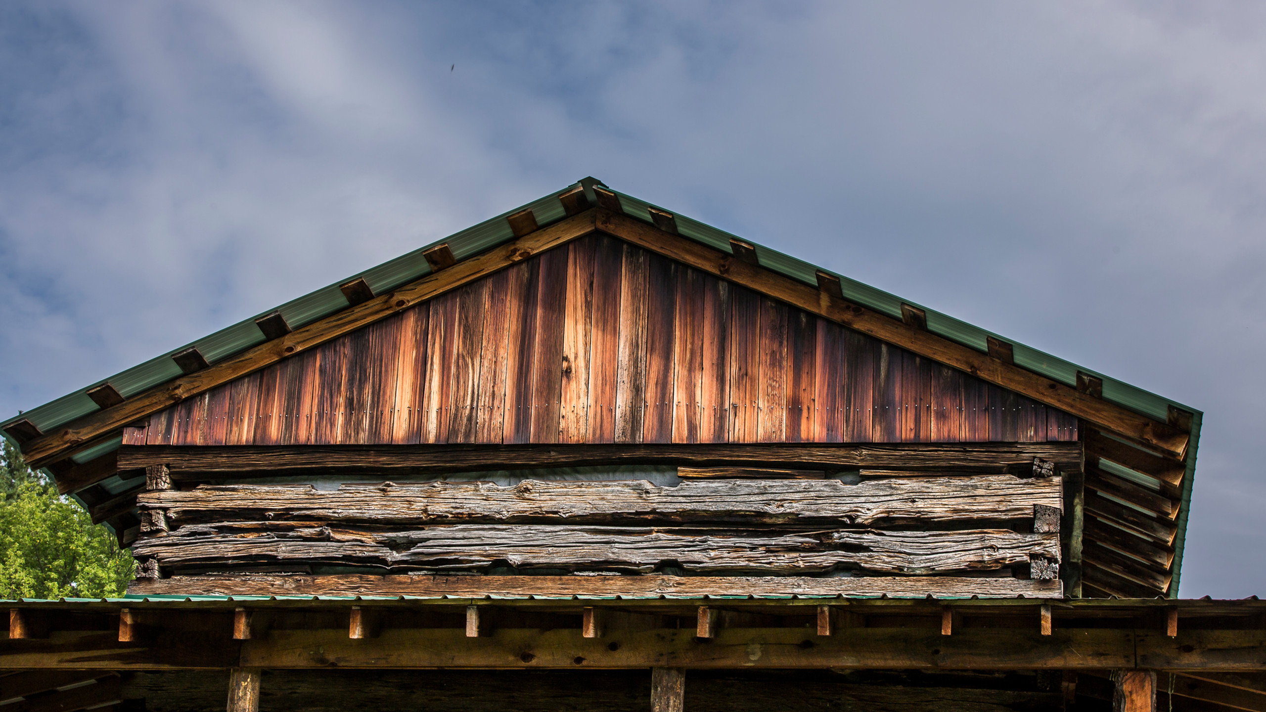 the barn rooftop.