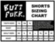 Butt Furr shorts size chart
