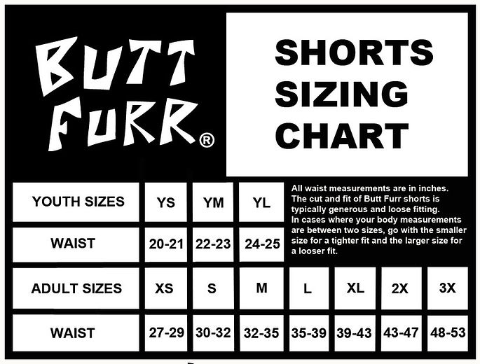 Butt Furr size chart