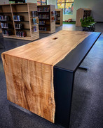 Waterfall Epoxy Casted Reception Desk on Adjustable Height Base