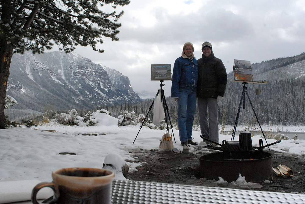 Can't beat winter plein air painting beside a fire!... a friend and I on a VERY cold winter day.